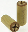 Large Gauge Bamboo Cylinder Plugs, Burnt 4 Lines Designs (SKU: BCP-B2)