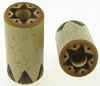 Long Bamboo Plugs, Burnt 6-Point Star Designs (SKU: BCP-L2)