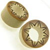 Bamboo Cylinder Plugs, Burnt Flower Designs (SKU: BCPBD-S)