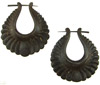 Thorn Style Coconut Shell Wing Hoop Earrings (SKU: C100)
