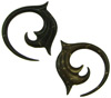 Large Gauge Coconut Shell Fancy Spiral Earrings (SKU: CSF)