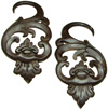 Coconut Shell Fancy Hook Gauge Earrings (SKU: CSH-FH)