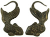 Large Gauge Coconut Shell Gold Fish Earrings (SKU: CSH-GF)