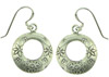 Karen Tribe Silver Hanging Stamped Flowers Hoop Earrings (SKU: E133)