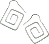 Sterling Silver Hanging Square Spiral Earrings (SKU: E68)