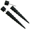 Fake Gauge Horn Tapered Screw Spike Earrings (SKU: HF-9)