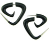 Horn Fakie Triangular Spiral Earrings, Silver Tips (SKU: HF23)