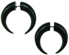 Horn Fake Gauge Captive Hoop Earrings (SKU: HF44)