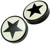Horn Saddle Plugs, Black Stars, White Background, 1-7/8 inch (SKU: HP-S-178)