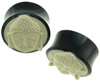 Large Gauge Horn Saddle Plugs, Bone Buddha Face Inlays (SKU: HS-BF)