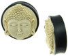Ebony Wood Saddle Plugs, Bone Buddha Face Inlays, over 1 inch (SKU: HS-BF-A)