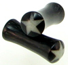 Large Gauge Horn Saddle White Star Plugs (SKU: HSBS)