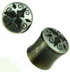 Silver Capped Horn Saddle Plugs, 3 Diamond Design, 9/16 inch (SKU: HSSC3D)
