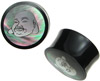 Horn Saddle Plugs, Shell Fat Buddha Face Inlays, 3/4 inch - 1-1/2 inch (SKU: HSSI-B)