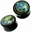 Horn Saddle Plugs w/ Abalone Shell Inlays, Bone Star, 9/16 inch (SKU: HSSI-BS)
