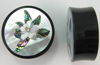Horn Saddle Plugs, Magnolia Flower Shell Inlays, 1-1/2 inch (SKU: HSSI-M-112)