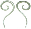 Mother of Pearl Question Mark Spiral Earrings, 18 gauge - 00 gauge (SKU: MOPQS)