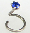 Tiny Indian Nostril Screw, Colored Glass, 21 gauge (SKU: NS)