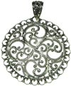 Sterling Silver Round Filigree Disc Pendant (SKU: P16)
