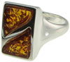 Sterling Silver and Split Rectangle Baltic Amber Ring (SKU: R28)