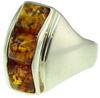 Sterling Silver & Square Baltic Amber Ring (SKU: R2A)