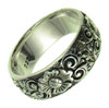 Sterling Silver Wide Flower Ring, size 8 (SKU: R37)