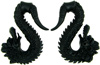 Ebony Wood Hanging Dragons, 7 gauge - 00 gauge (SKU: WD-00)