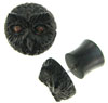 Ebony Wood Owl Fake Gauge Plug Earrings (SKU: WF-11)
