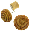 Wood Carved Flower Fake Gauge Earrings (SKU: WF)