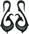 Ebony Wood Long S Hook Gauge Earrings (SKU: WHA-LS)
