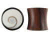 Large Gauge Sono Wood Saddle Plugs, Shiva's Eye Shell Inlays (SKU: WP)