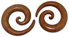 Huge Sawo Wood Spiral Gauge Earrings (SKU: WSH)
