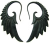 Ebony Wood Seraphim Wing Hanging Gauge Earrings (SKU: WSH5E)