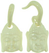 Large Gauge Bone Hanging Buddha Head Earrings (SKU: BHK-B)