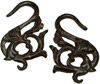 Coconut Shell Floral S Hook Gauge Earrings (SKU: CSH-FS)