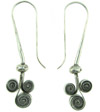 Karen Tribe Silver Hanging Triple Flat Coiled Spiral Earrings (SKU: E125)