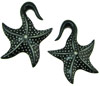 Large Gauge Hanging Horn Star Fish Earrings (SKU: H66)