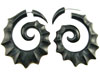 Horn Fake Gauge Scalloped Spiral Earrings (SKU: HF-15)