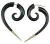 Silver Tipped Horn Fake Gauge Comma Spiral Earrings (SKU: HF-16)