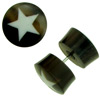 Horn Fake Gauge Plug Earrings, Bone Star Inlays (SKU: HF-3)