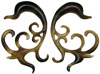 Large Gauge Fancy Horn Swirly Hook Earrings (SKU: HHK-SY)