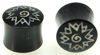 Horn Saddle Plugs, Spiky Borneo Dayak Flower Inlays, 5/8 inch (SKU: HSBDFS-58)