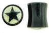 Large Gauge Horn Saddle Plugs, Black Star White Background (SKU: HSBHS)