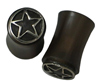 Silver Capped Horn Saddle Plugs, Hollow Stars, 0 gauge (SKU: HSSCHS-0)