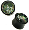 Horn Saddle Plugs w/ Bone Island Flower & Abalone Shell Inlays, 11/16 inch  - 7/8 inch (SKU: HSSI-IF)