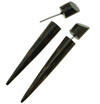 Palm Wood Taper Fake Gauge Spike Earrings (SKU: WF-1)