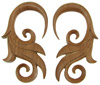 Large Gauge Sawo Wood Hanging Fancy Bird's Tail Earrings (SKU: WSH6)