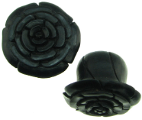 Large Gauge Ebony Wood Flower Lobe Plugs