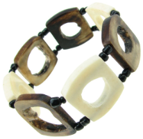 African Beaded Hollowed Square Bones Bracelet