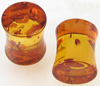 0 gauge fake amber double flared plugs